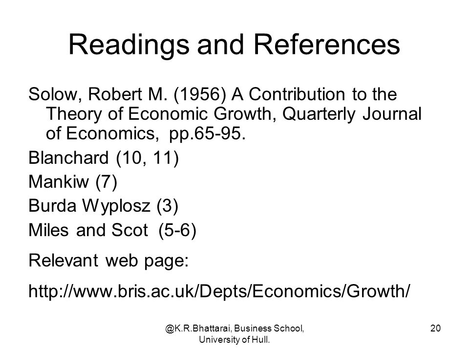 Readings and References