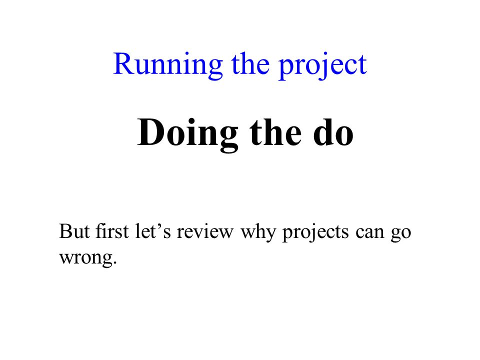 Running the project Doing the do