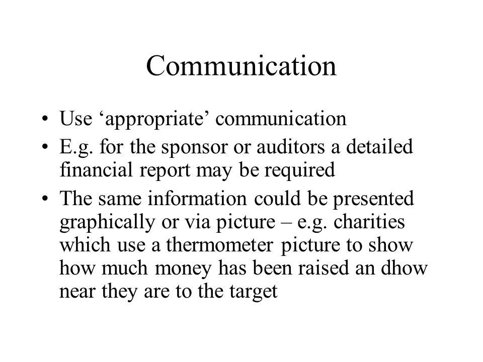Communication Use 'appropriate' communication