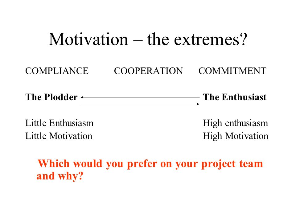 Motivation – the extremes