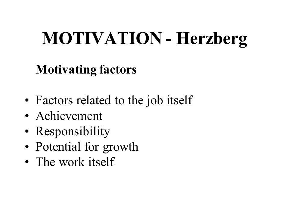 MOTIVATION - Herzberg Motivating factors