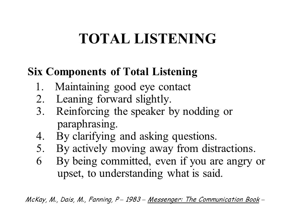 TOTAL LISTENING Six Components of Total Listening