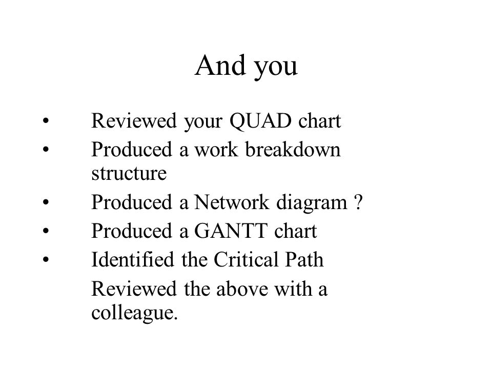 And you Reviewed your QUAD chart Produced a work breakdown structure