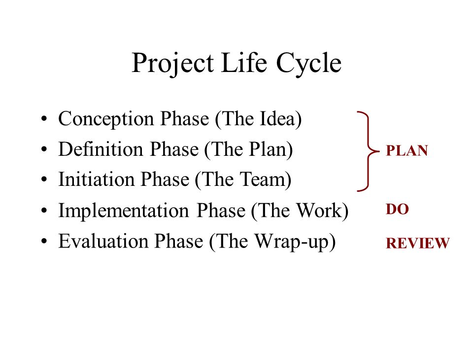 Project Life Cycle Conception Phase (The Idea)