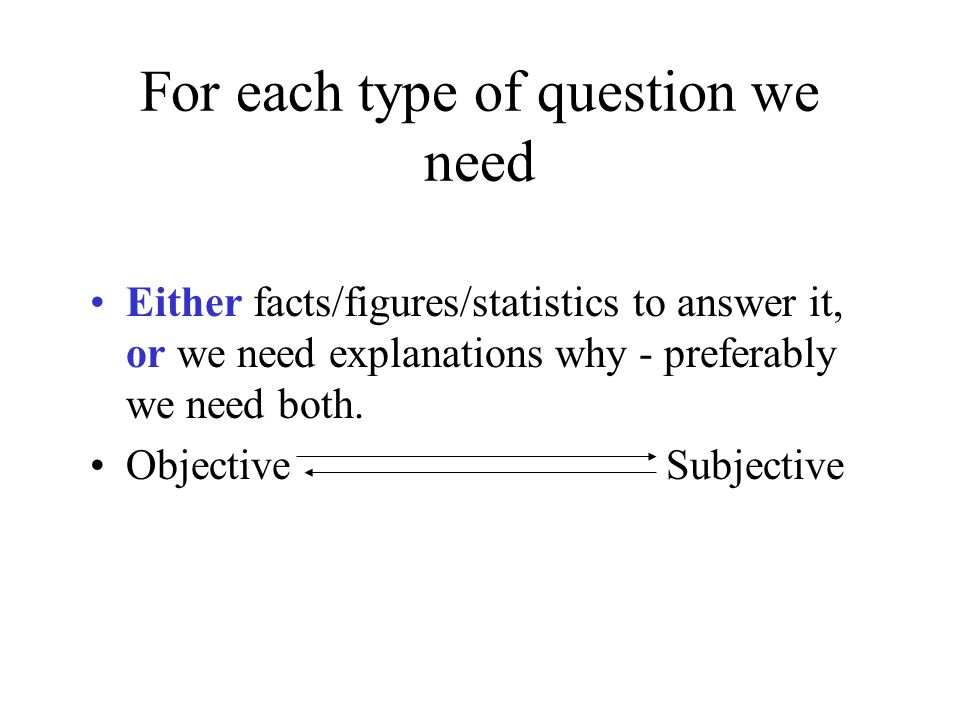 For each type of question we need