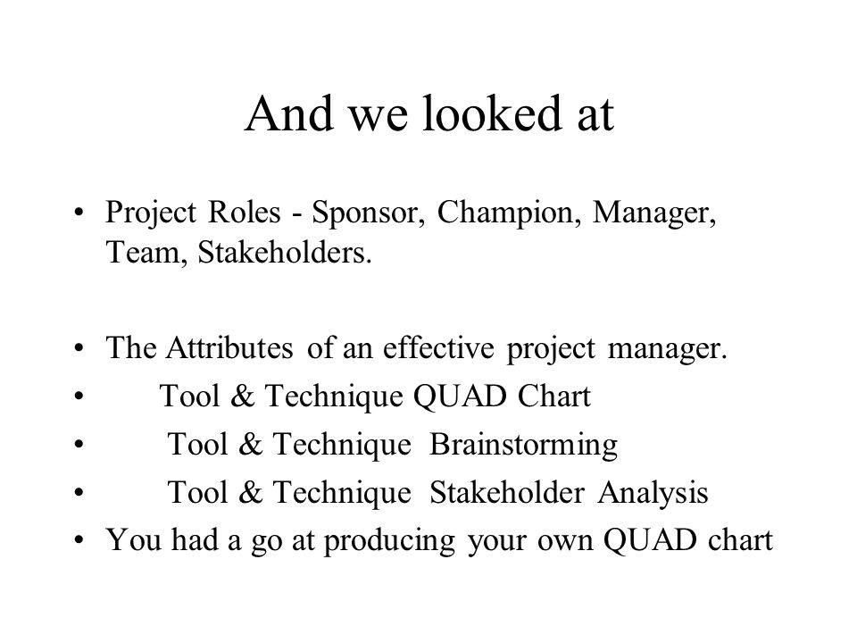 And we looked at Project Roles - Sponsor, Champion, Manager, Team, Stakeholders. The Attributes of an effective project manager.