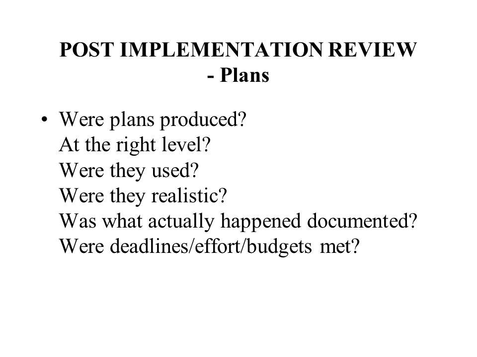 POST IMPLEMENTATION REVIEW - Plans