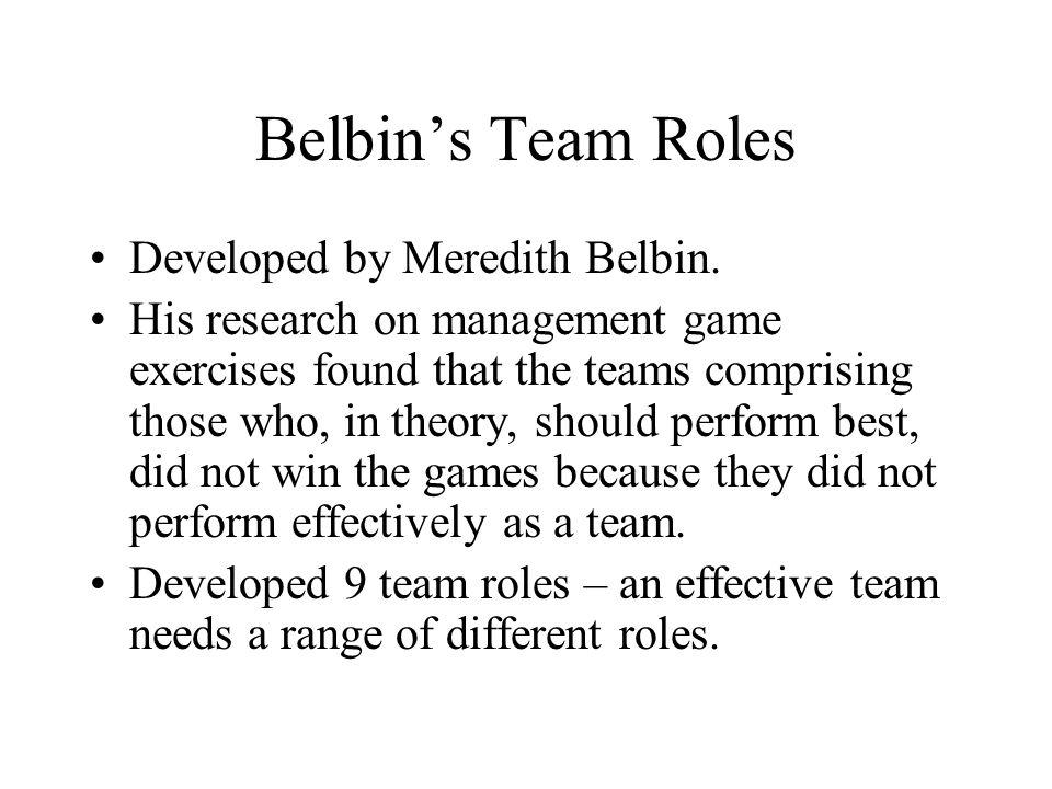 Belbin's Team Roles Developed by Meredith Belbin.