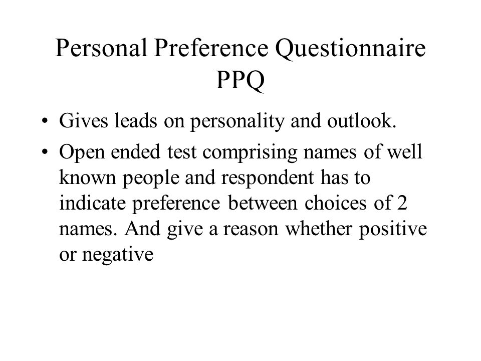 Personal Preference Questionnaire PPQ
