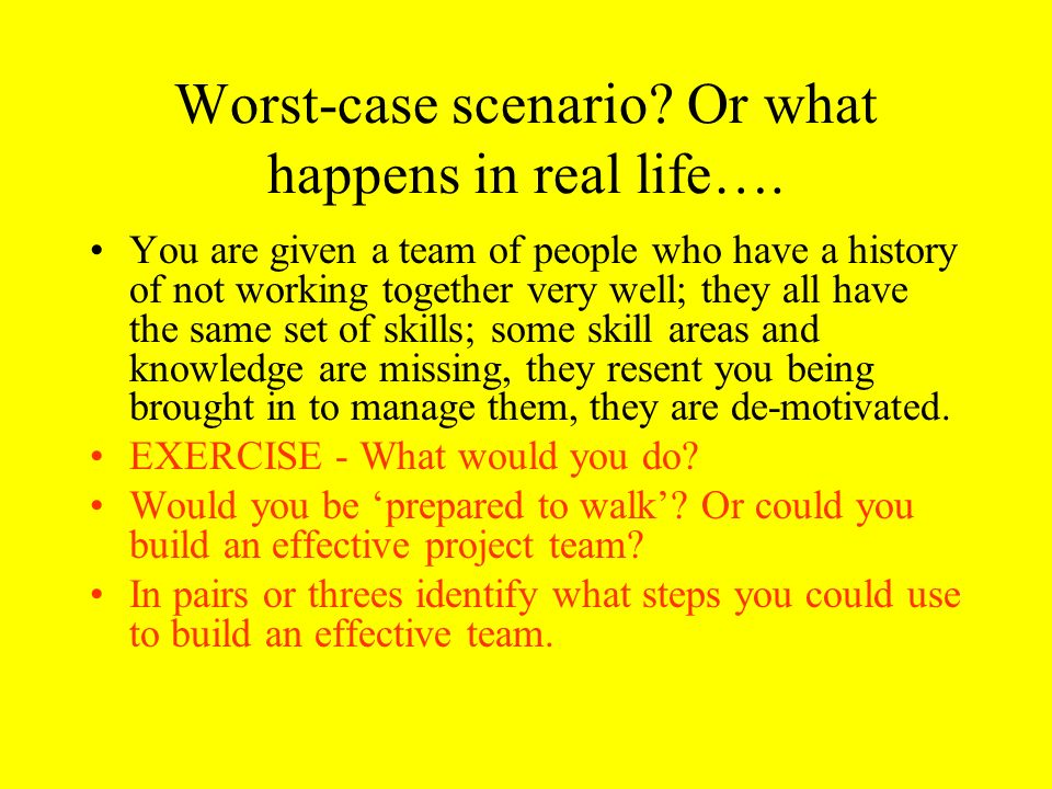 Worst-case scenario Or what happens in real life….