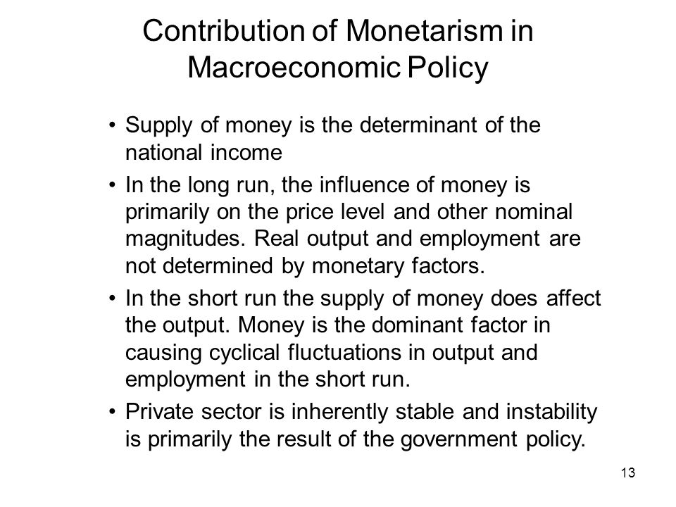 Contribution of Monetarism in Macroeconomic Policy