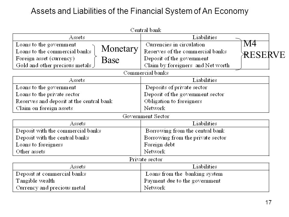Assets and Liabilities of the Financial System of An Economy