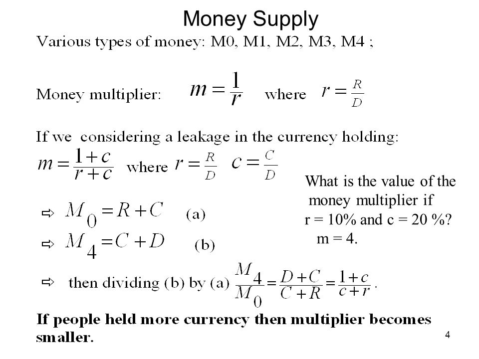 Money Supply What is the value of the money multiplier if