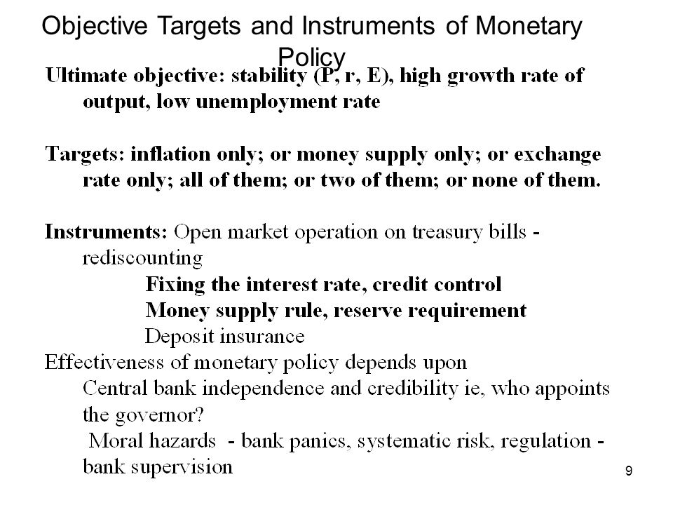 Objective Targets and Instruments of Monetary Policy