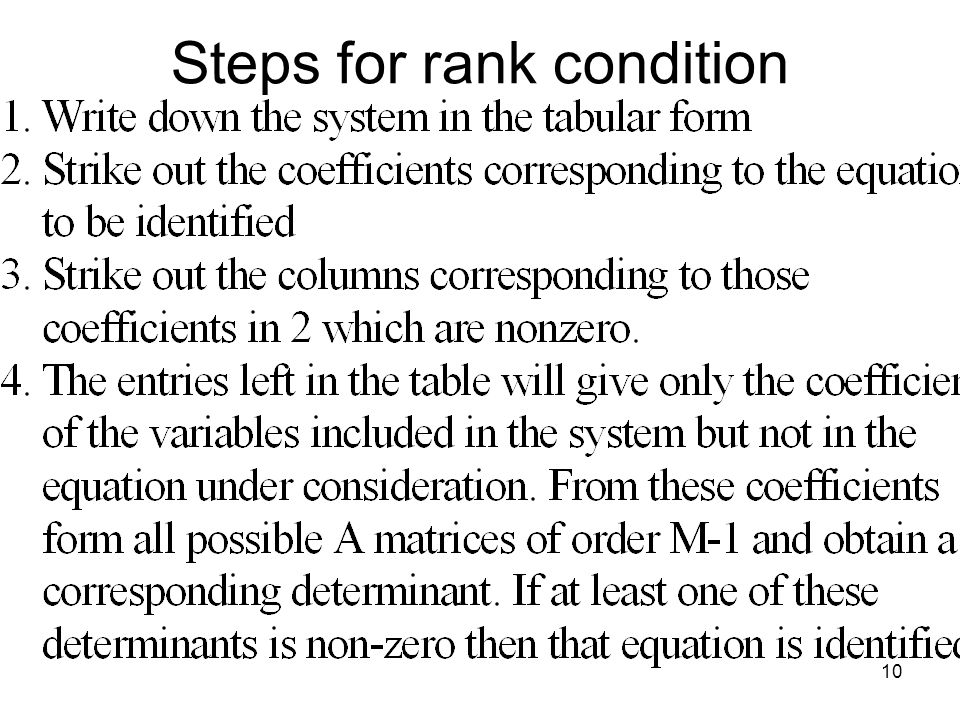 Steps for rank condition