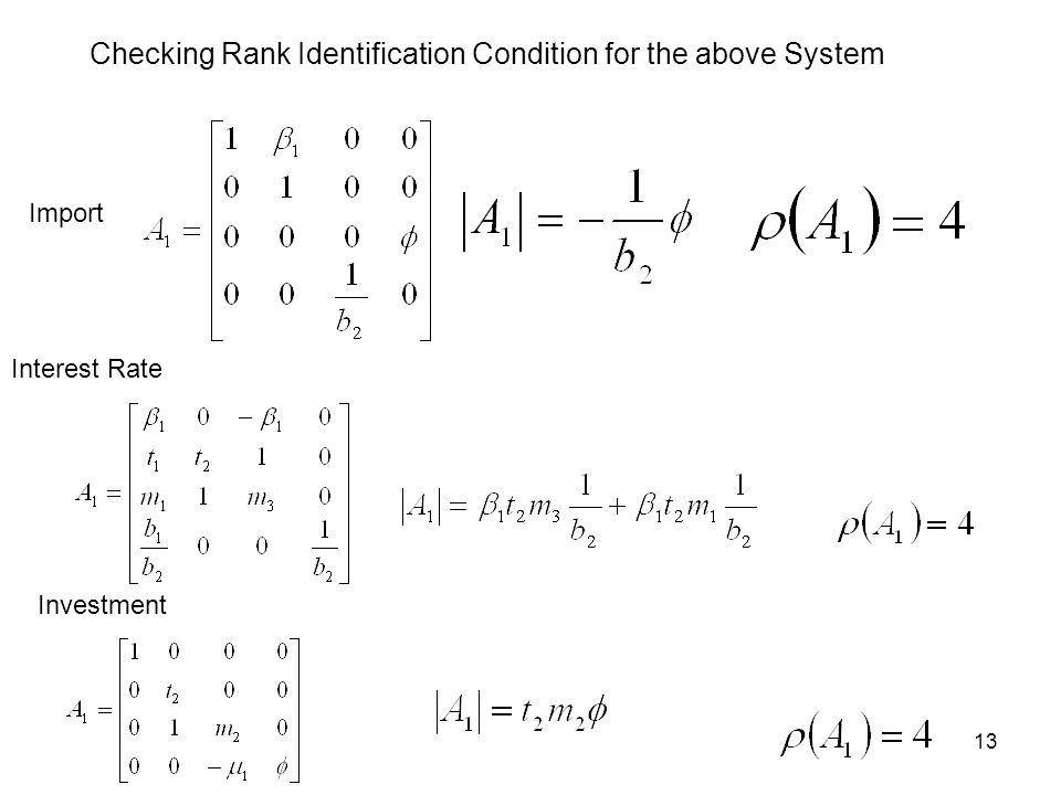 Checking Rank Identification Condition for the above System