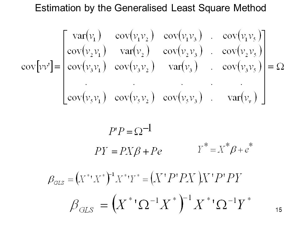 Estimation by the Generalised Least Square Method