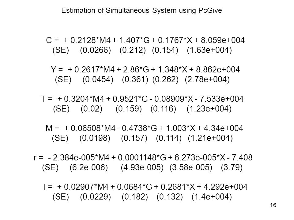 Estimation of Simultaneous System using PcGive