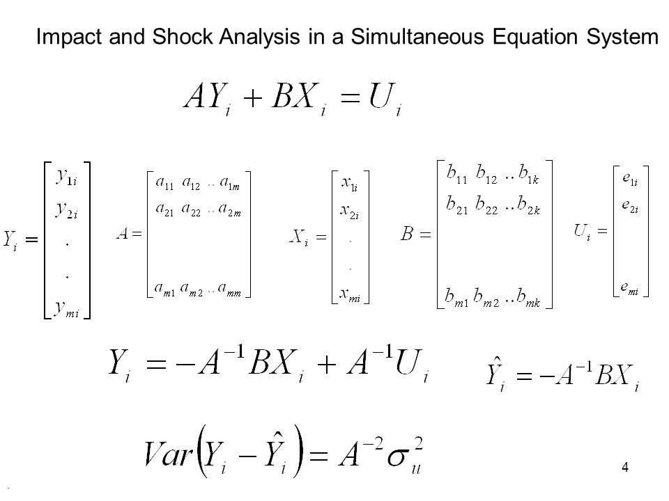 Impact and Shock Analysis in a Simultaneous Equation System