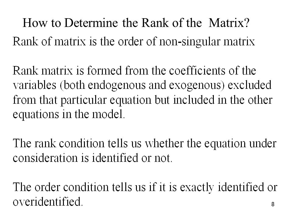 How to Determine the Rank of the Matrix