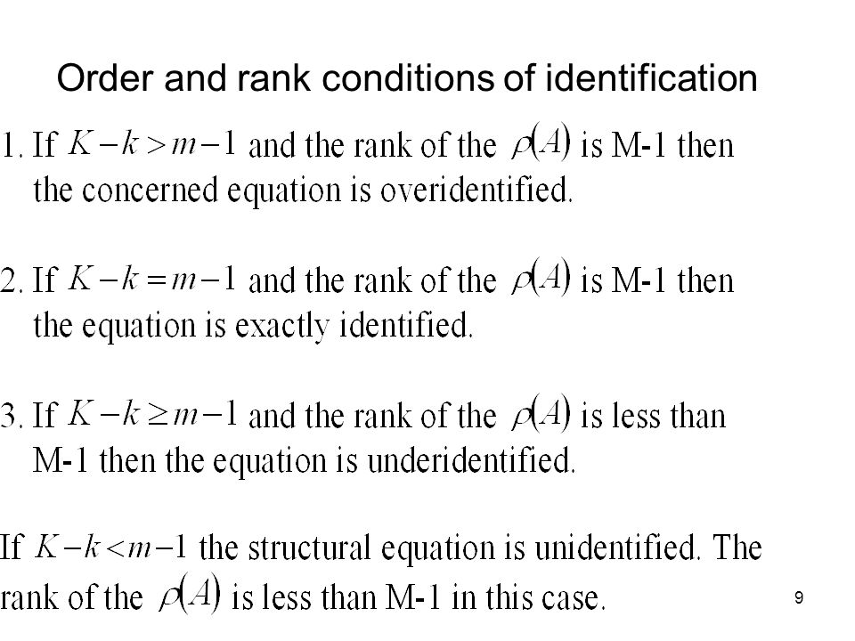 Order and rank conditions of identification