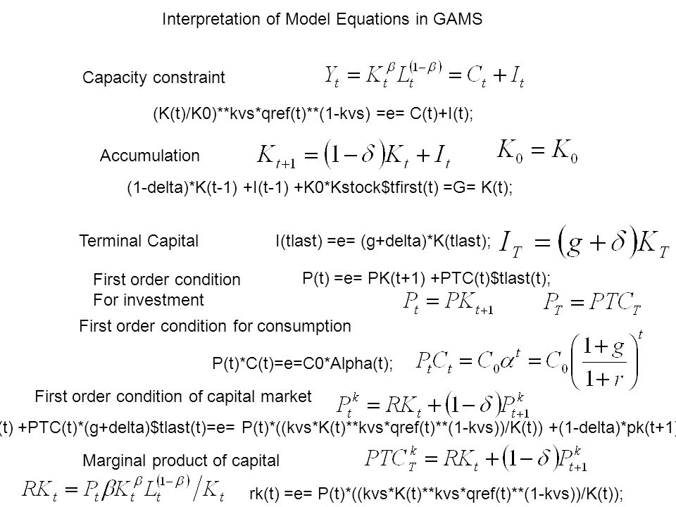 Interpretation of Model Equations in GAMS