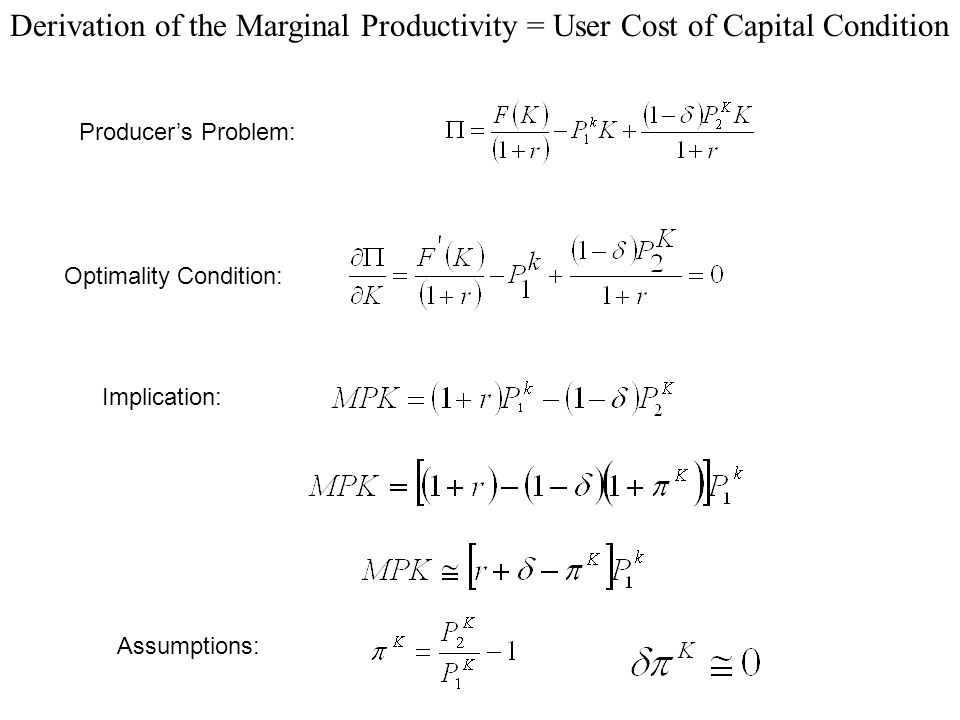 Derivation of the Marginal Productivity = User Cost of Capital Condition