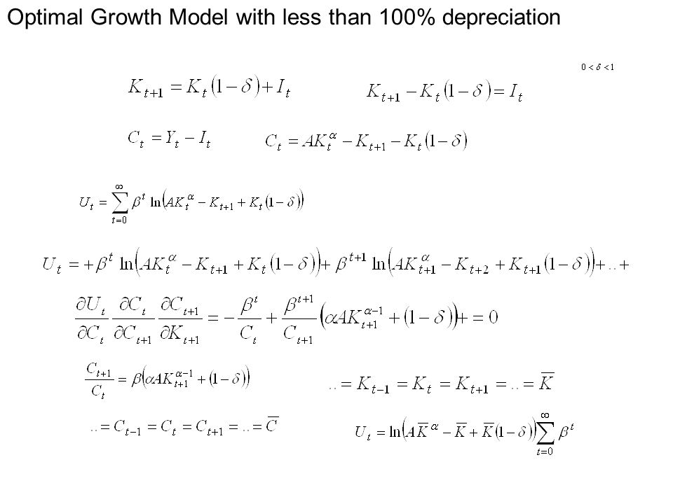 Optimal Growth Model with less than 100% depreciation