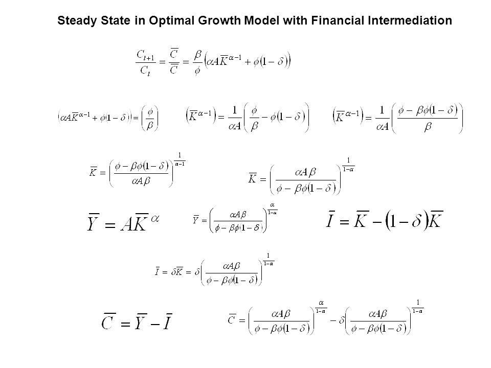 Steady State in Optimal Growth Model with Financial Intermediation