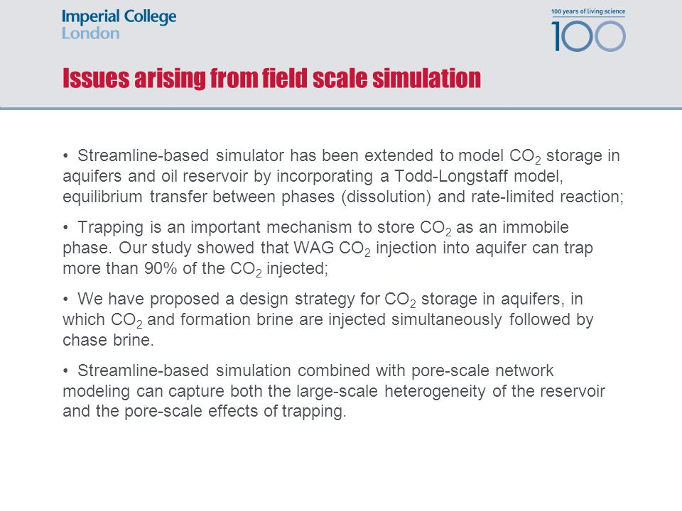 Issues arising from field scale simulation