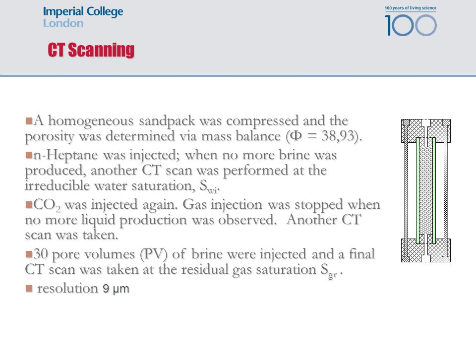 CT Scanning A homogeneous sandpack was compressed and the porosity was determined via mass balance (Φ = 38,93).