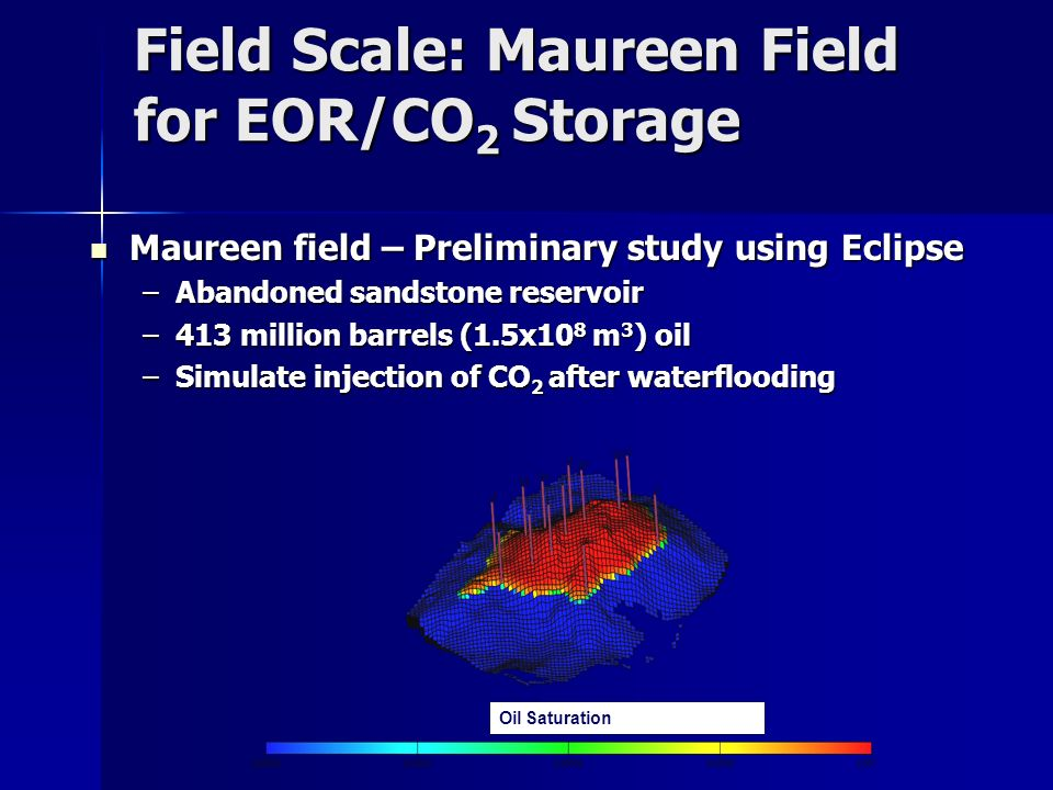 Field Scale: Maureen Field for EOR/CO2 Storage