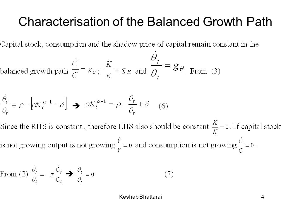 Characterisation of the Balanced Growth Path