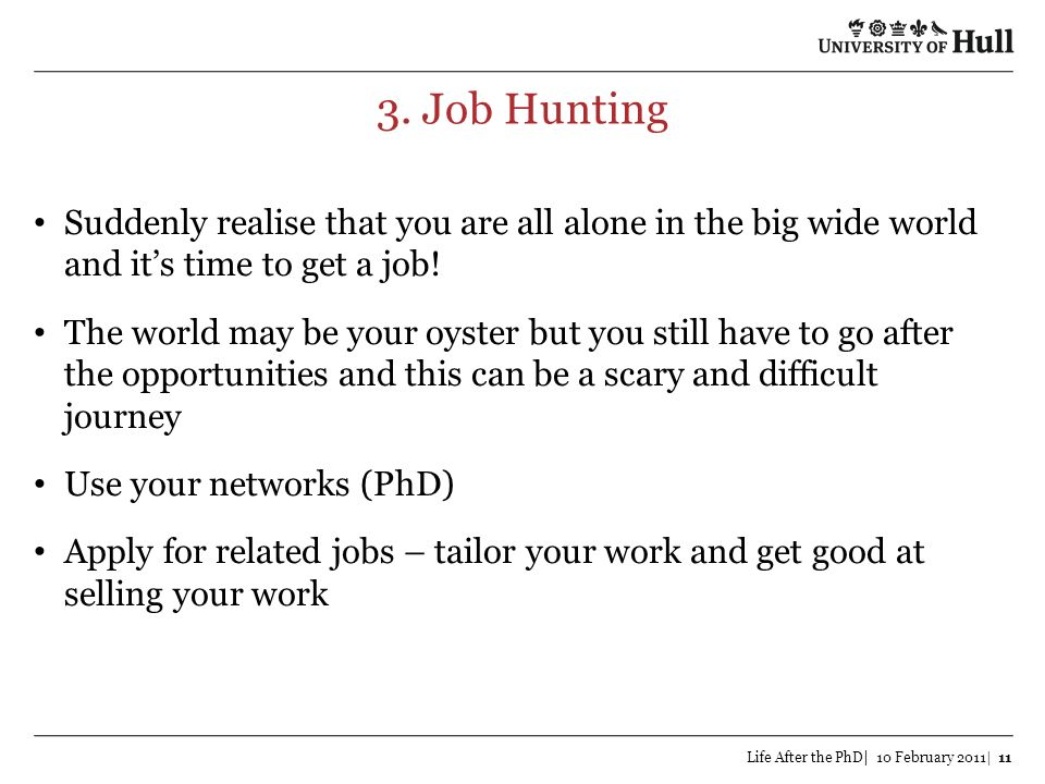 3. Job Hunting Suddenly realise that you are all alone in the big wide world and it's time to get a job!