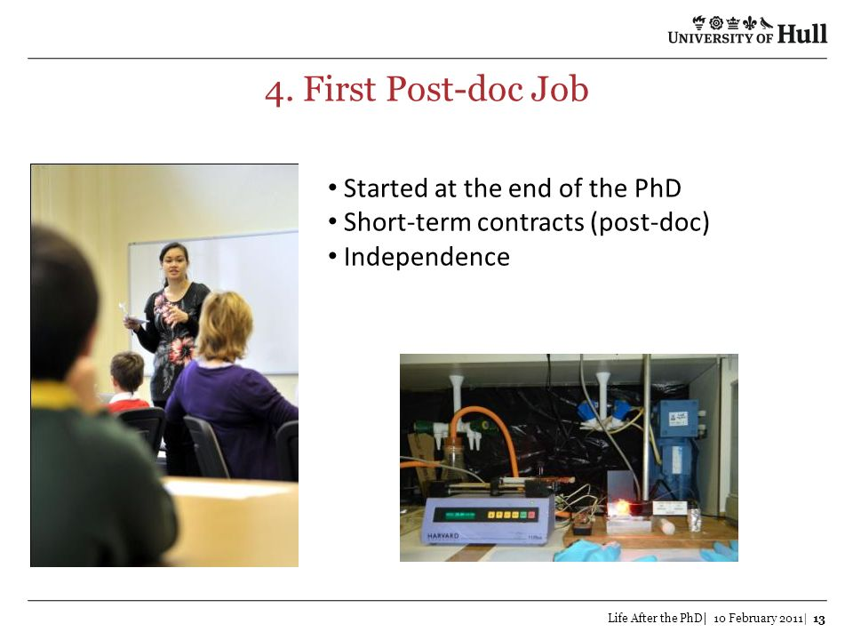 4. First Post-doc Job Started at the end of the PhD