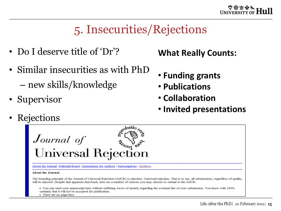 5. Insecurities/Rejections