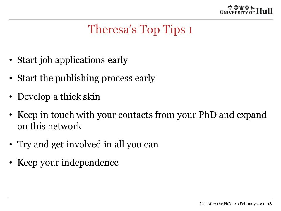 Theresa's Top Tips 1 Start job applications early