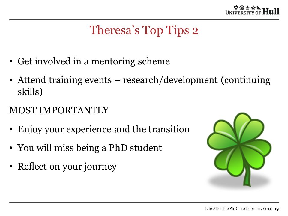 Theresa's Top Tips 2 Get involved in a mentoring scheme