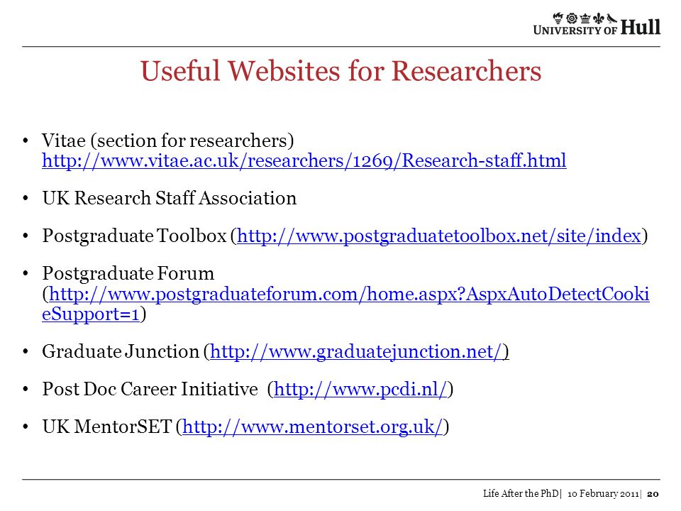 Useful Websites for Researchers