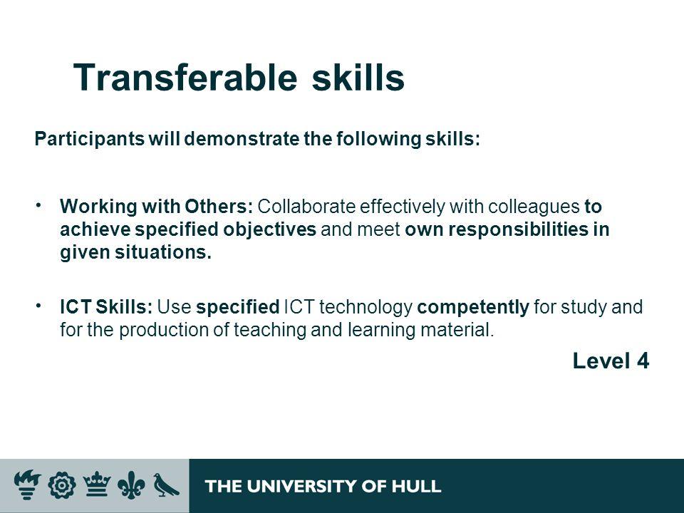 Transferable skills Level 4