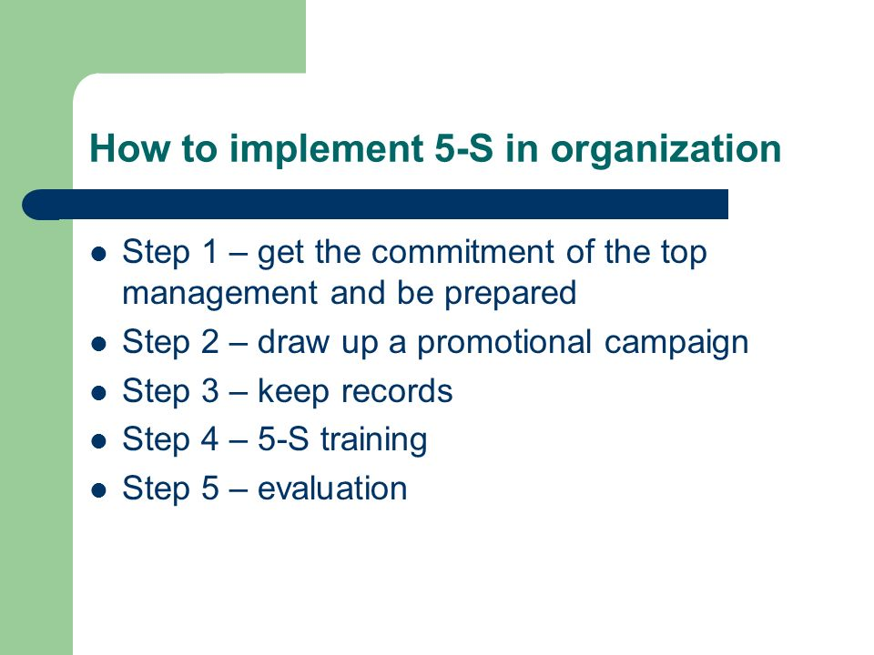 How to implement 5-S in organization