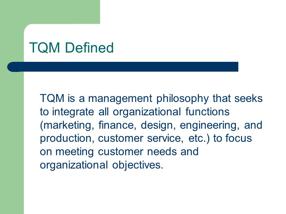 the five key principles of total quality management Total quality management (tqm) is the management of initiatives and programmes that are aimed at achieving the delivery of quality products and services several studies have attempted to identify the key principles of tqm among these, douglas and judge [2], beer [3], agus [4] and mann [5] have attempted to identify.
