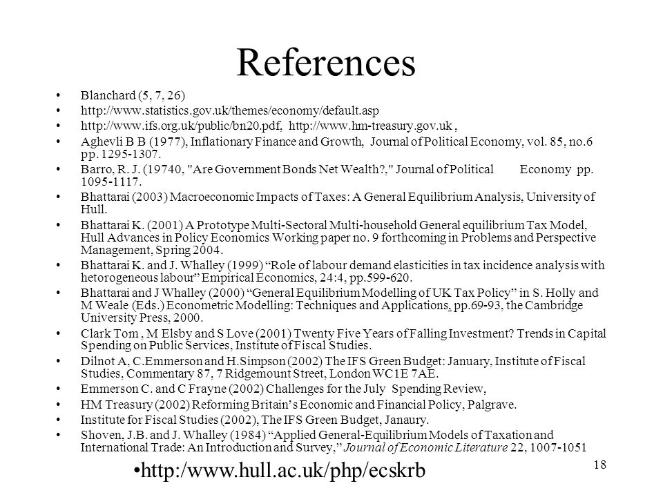 References http:/www.hull.ac.uk/php/ecskrb Blanchard (5, 7, 26)