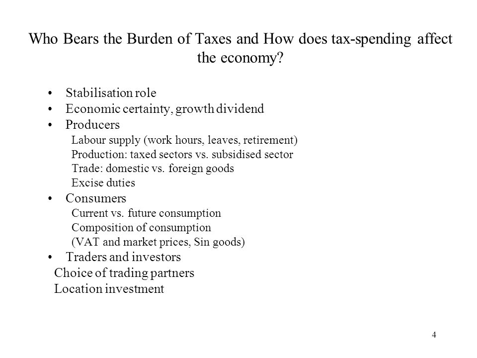 Who Bears the Burden of Taxes and How does tax-spending affect the economy