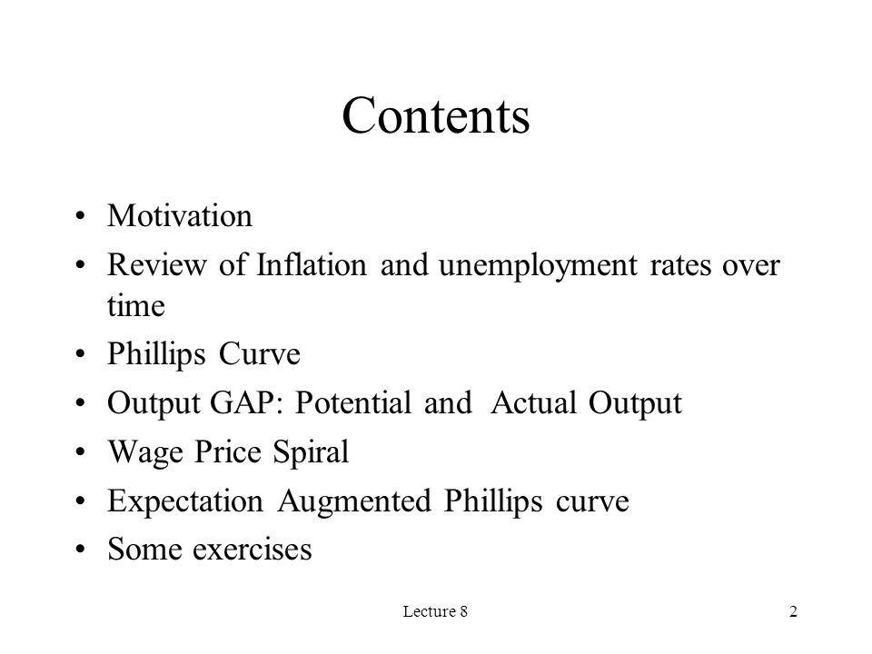 Contents Motivation. Review of Inflation and unemployment rates over time. Phillips Curve. Output GAP: Potential and Actual Output.
