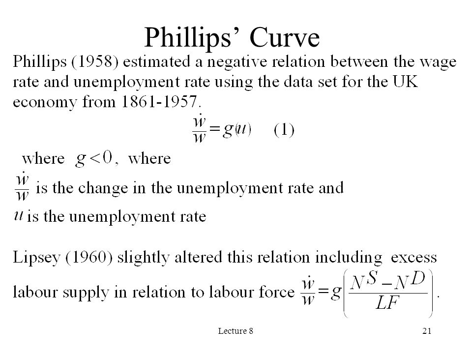 Phillips' Curve Lecture 8