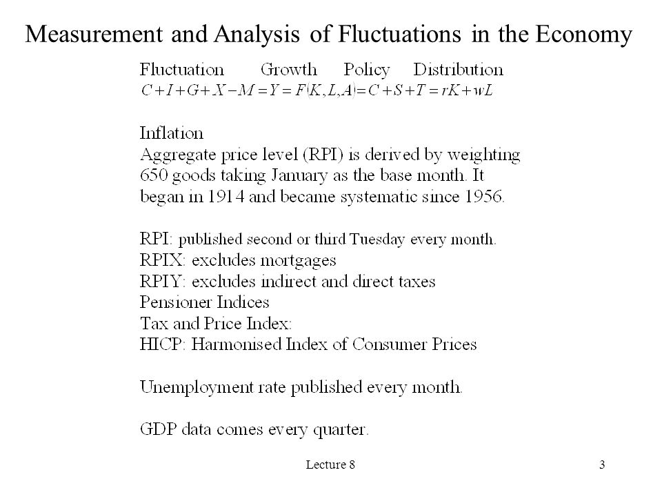 Measurement and Analysis of Fluctuations in the Economy