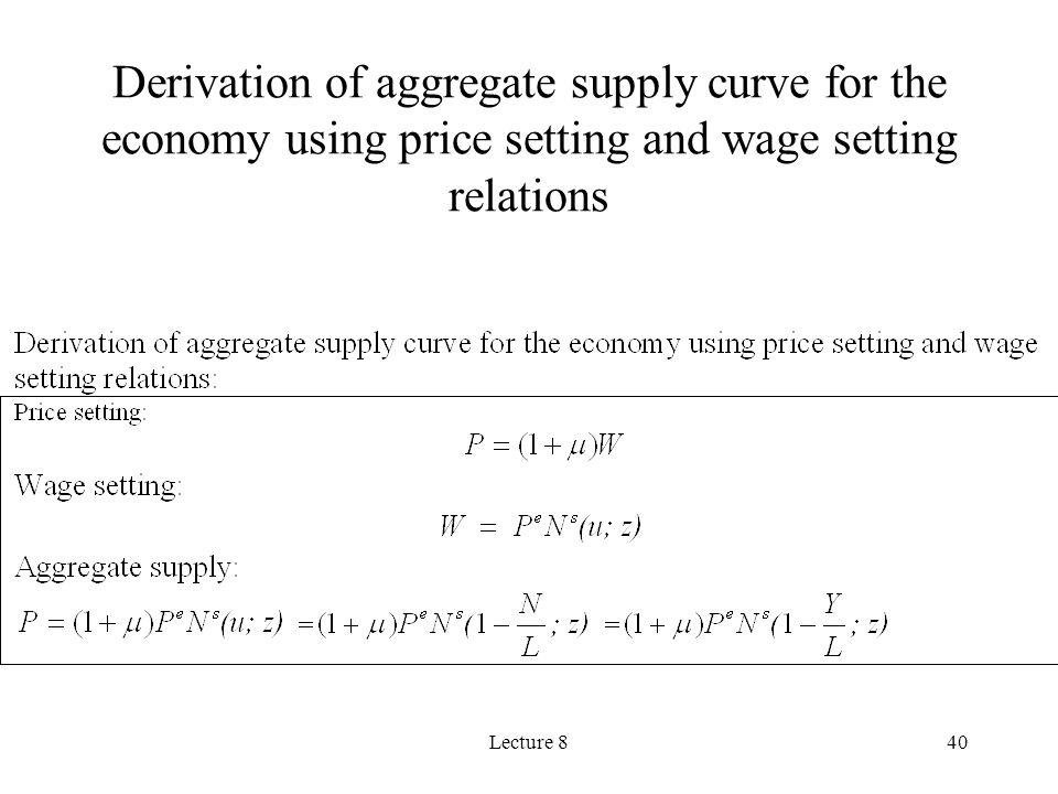 Derivation of aggregate supply curve for the economy using price setting and wage setting relations