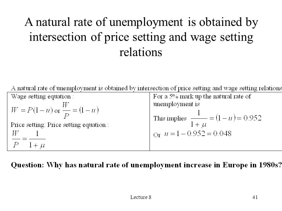 A natural rate of unemployment is obtained by intersection of price setting and wage setting relations