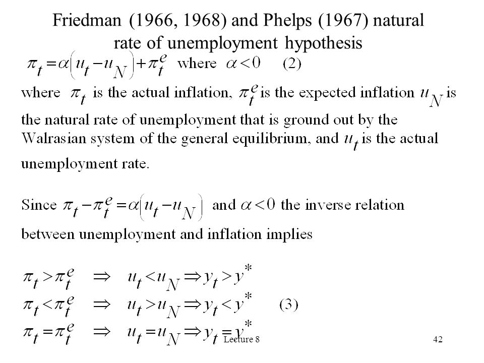 Friedman (1966, 1968) and Phelps (1967) natural rate of unemployment hypothesis